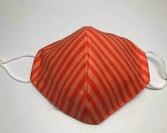 Orange Striped Face Mask, 2 Layer, Filter Pocket, Cotton, Adjustable, Ready to Sell!
