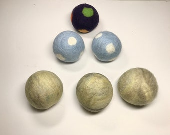 Wool Dryer Balls, felted wool balls, ready to ship