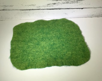 Felted Nativity Mat, Green Wool Mat, Christmas, Ready to Ship!