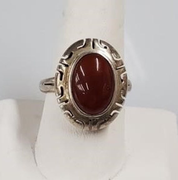 Vintage Sterling Silver Carnelian Ring