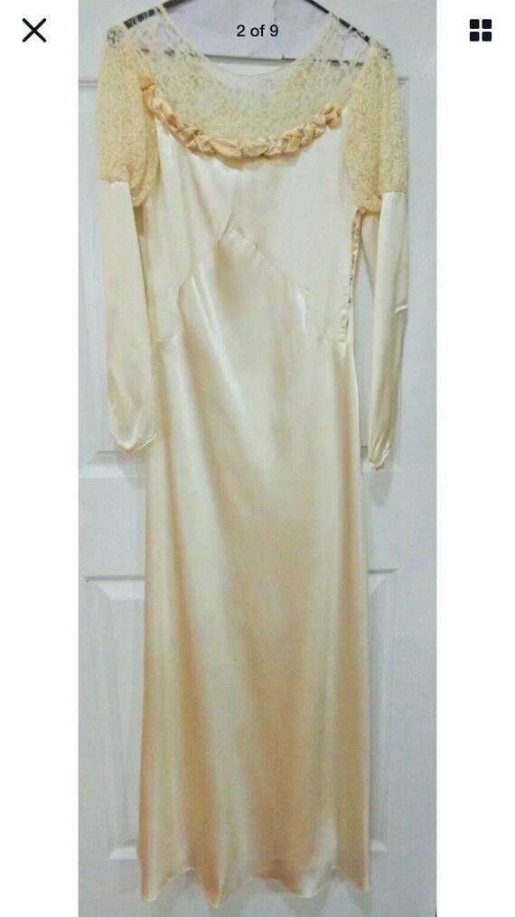 Vintage Victorian Lace Dress Women's 8 10 Ivory We