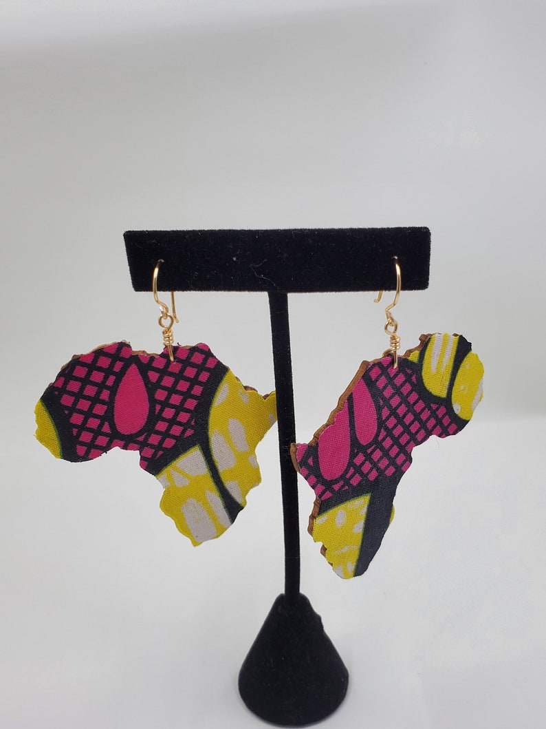 Wooden Fabric Africa covered Earrings