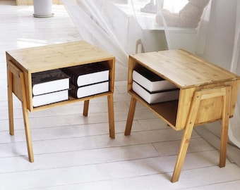 Set of 2 Bamboo Nightstand Stackable Side Table End Table Bedside Tables, Nightstand for Spaces Storage, Home Decor, Side table with storage