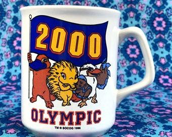 Vintage Crystal Craft 2000 Sydney Olympics Coffee Mug / Australiana / Y2K / Olly, Syd, Millie and Lizzie