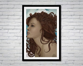 Redhead naked woman oil painting on canvas Nude girl original artwork Boho wall decor Eclectic wall art by Alexander Konda