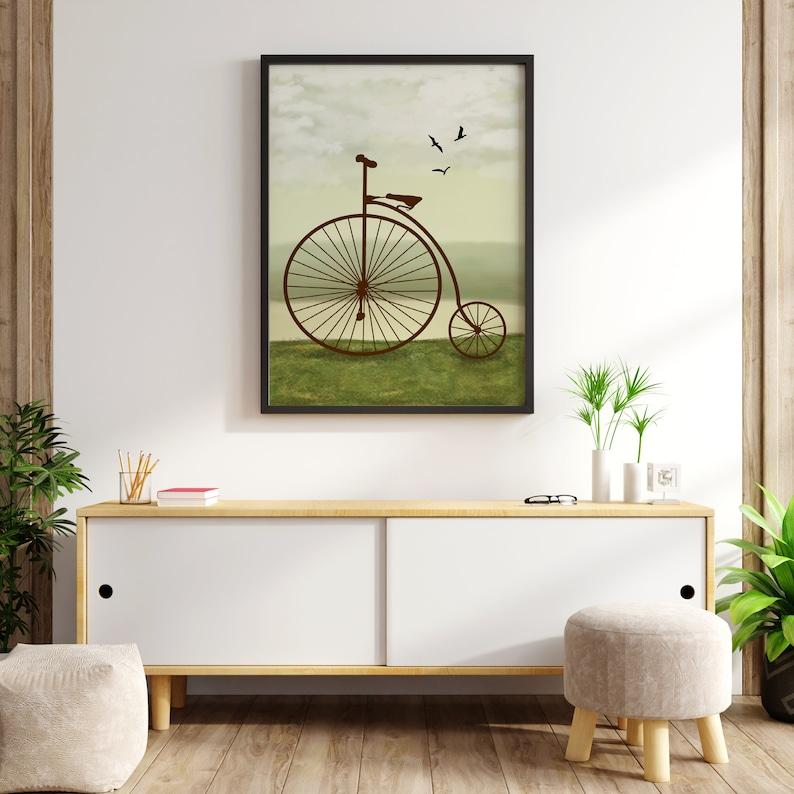 Retro Bicycle art print. Printable wall art.  Vintage old image 0