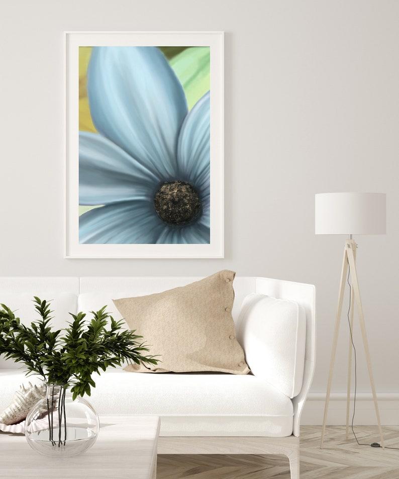 Blue flower Printable Wall Art Print Floral Wall Art Spring image 0