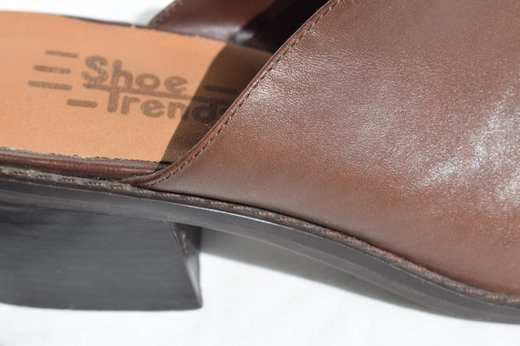 Vintage 90's Brown Leather Mules 7.5 |  1990's Br… - image 3