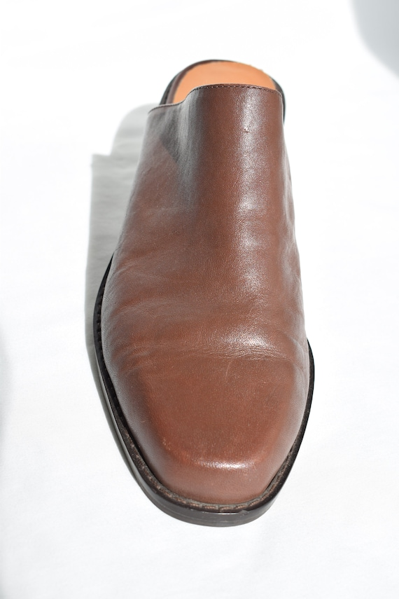 Vintage 90's Brown Leather Mules 7.5 |  1990's Br… - image 5