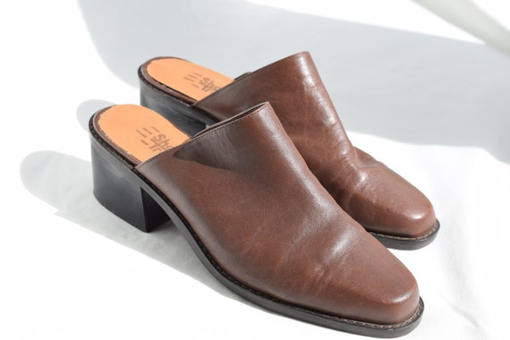 Vintage 90's Brown Leather Mules 7.5 |  1990's Br… - image 1