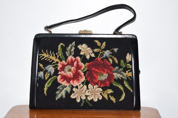 Vintage 1940's Needle Point Embroidery Handbag / 4