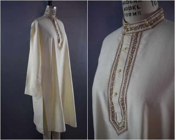 Vintage 1970's Moroccan Ivory Cream Silk Embroider