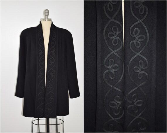 Vintage 1980's Black Wool Swing Coat Size Medium/L