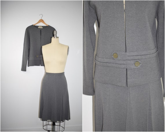 Vintage 1960's Gray Wool Knit Two Piece Skirt Suit