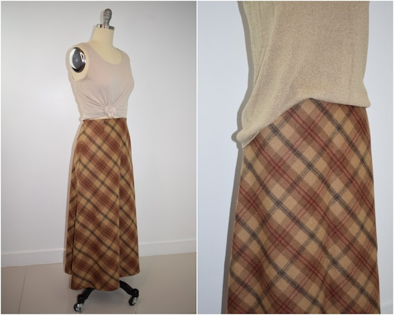 Vintage brown plaid wool maxi skirt / 90s beige, b
