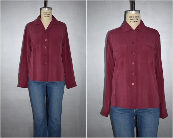 Vintage Burgundy 100/% Silk Button Up Shirt Size ML   Vintage City Silk Wine Pure Silk Button Down Blouse Size MediumLarge