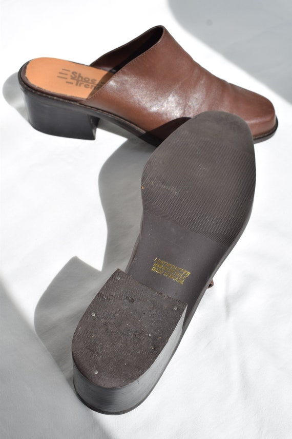 Vintage 90's Brown Leather Mules 7.5 |  1990's Br… - image 7