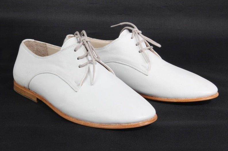 1920s Style Mens Shoes | Peaky Blinders Boots Men Shoes - Handmade Shoes - Oxford Shoes - Flat Shoes - Retro Leather - Casual Shoes - White Shoes - Classic Shoes $63.75 AT vintagedancer.com