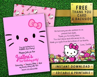 Hello Kitty Invitations 20 Cards Birthday Party Invites Girl Boy Kids