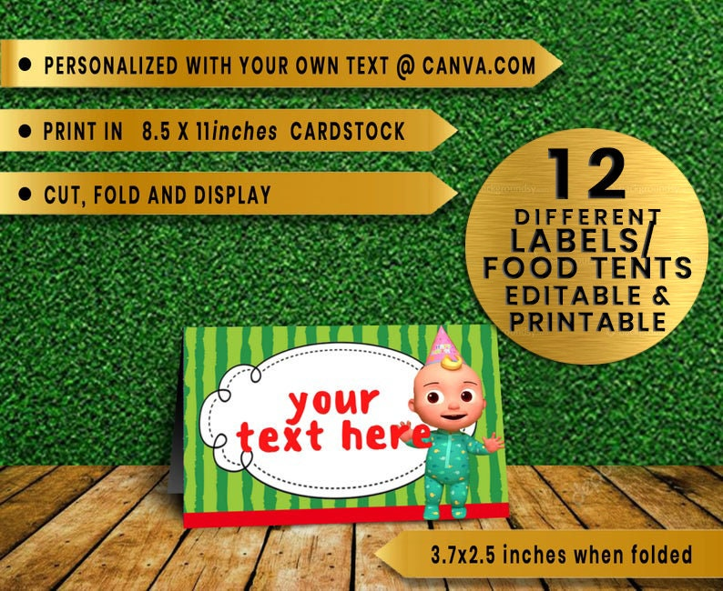 COCOMELON Food Tents Place Holders Food labels instant editable Digital Download