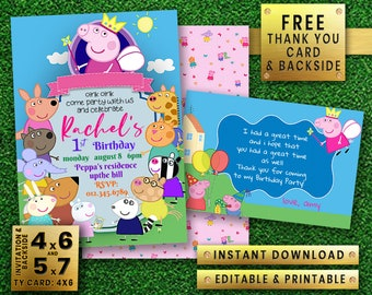 PEPPA PIG instant download editable printable Girl boy Birthday Party Invitation - free thank you card & back side