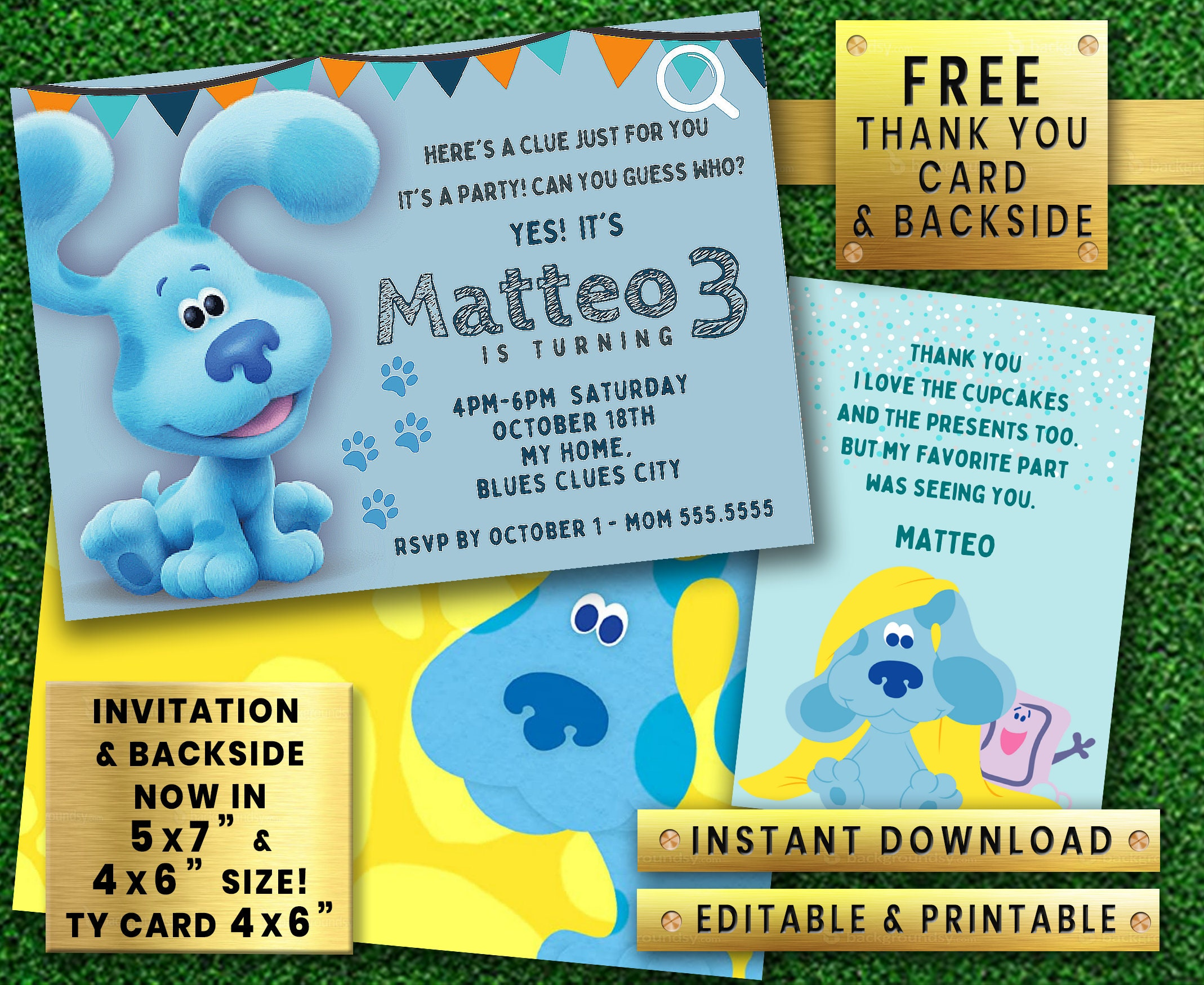 Blues Clues Instant Download Editable Printable Girl Boy Birthday Party Invitation Free Thank You Card