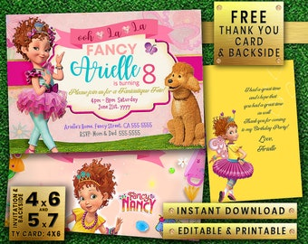 FANCY NANCY instant download editable printable Girl boy Birthday Party Invitation free thank you card & back side