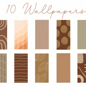 10 Iphone Wallpapers Pack Cool Neutral Fall Boho Minimal Etsy