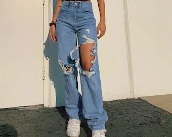 Blue Black Brown HEART Mom Denim Jeans High Waist Baggy Y2K