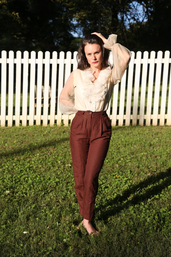 High Waisted Chocolate Brown Linen Trousers