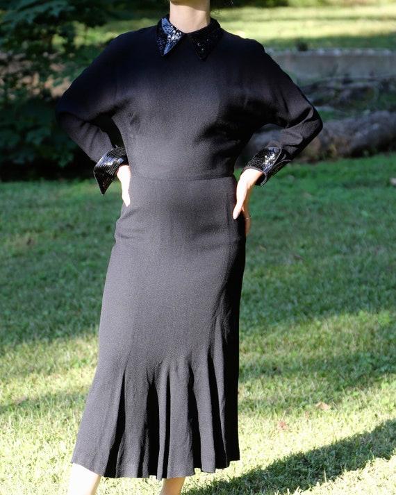 1940s Black Crepe Sequin Dress