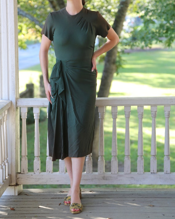1940s Green Crepe Dress