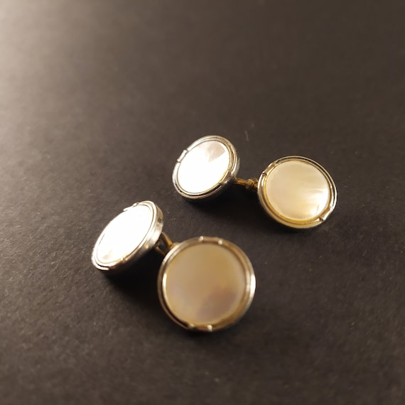 Vintage Cufflinks Mother of Pearl Cufflinks made by W/&A  ELYSIUM 1900s