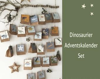 Advent Calendar Dinosaur DIY for boys and girls; fillable, children's room decoration, mini sets for Advent, gift for children
