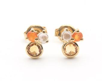 Earrings gold-plated citrine, carnelian, labradorite