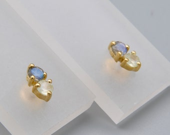 Silver stud gold plated with two gemstones
