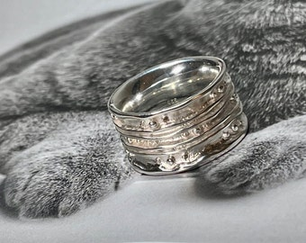 wide silver ring size 54