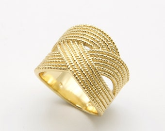 wide gold ring braided