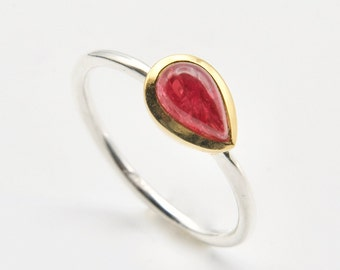 Red Gemstone Ring Spinel Delicate Silver Gold Size 58