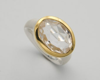 large silver ring with rock crystal, ring size 57