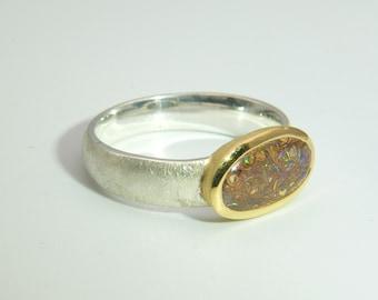 Boulder Opal Ring Silver Gold Size 61