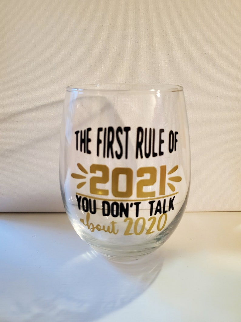 Stemless 2021 wine glass New Year/'s Eve
