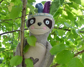 Paper cut pattern with instructions from sloth, sewing pattern & instructions, cuddly toy, sewing,
