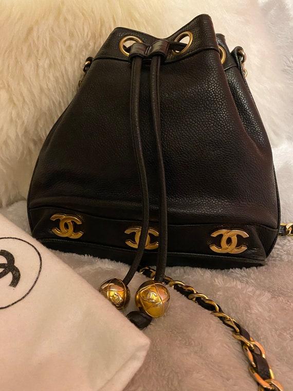Authentic Chanel Bucket Drawstring Bag Caviar Leat