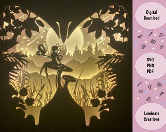 Butterfly Fairy Fantasy Light Box, Shadow Box Template - SVG Instant Download File (Only) 3D Paper Cut File
