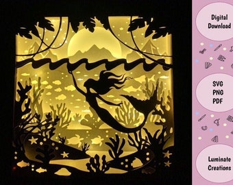 Mermaid Fantasy Light Box, Shadow Box Template - SVG Instant Download File (Only) 3D Paper Cut File
