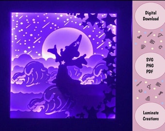 Sorcerer Mickey Fantasy Light Box, Shadow Box Template - SVG Instant Download File (Only) 3D Paper Cut File