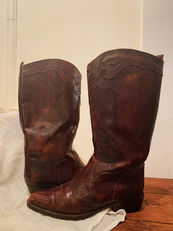 Joan & David Western Cowboy Snakeskin Boots