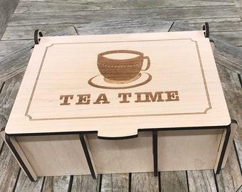 Personalizable Tea Box | Tea Chest | Tea Storage | Tea Caddy | Tea Set | Wood Tea Box | Tea Time | Tea Bag Holder | Tea Bag Storage