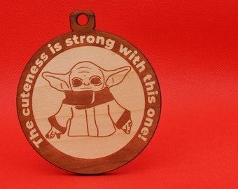 Baby Yoda - Ornament - Laser Cut | Star Wars Yoda | Grogu | The Mandalorian | Star Wars Baby | Alien Species | Yoda Cuteness | Cuddle Yoda